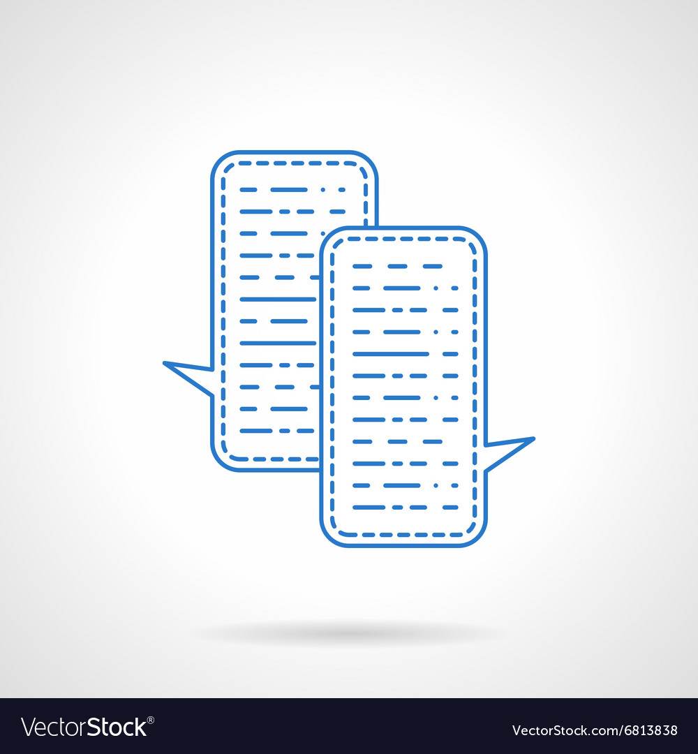 Blue flat line chat icon vector image