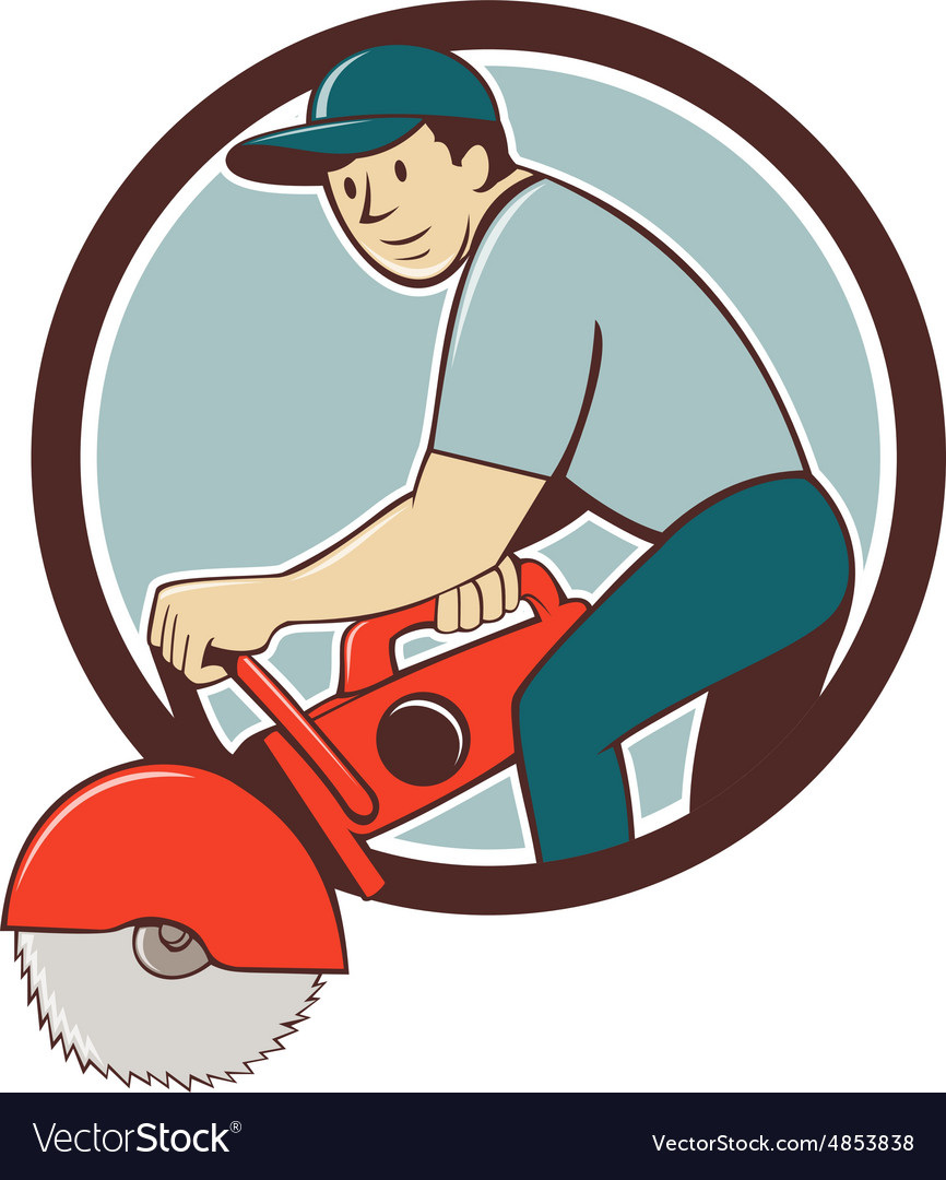 Construction Worker Concrete Saw Cutter Cartoon vector image