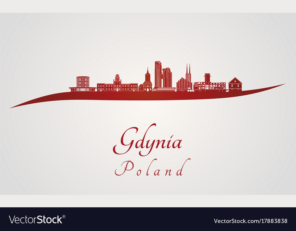 Gdynia skyline in red