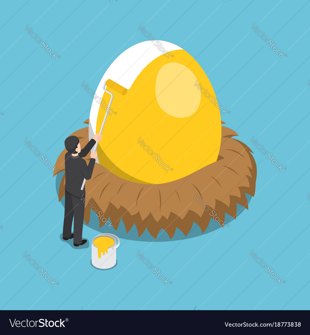 Isometric businessman painting golden color on Vector Image