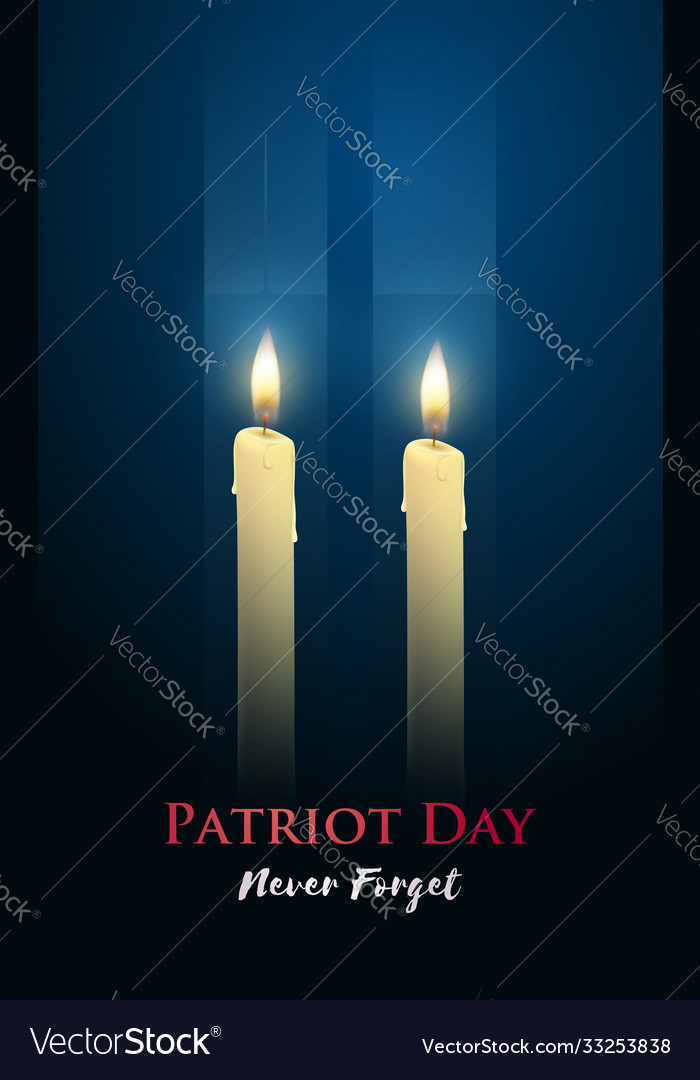 Patriot day poster with candles two skyscrapers