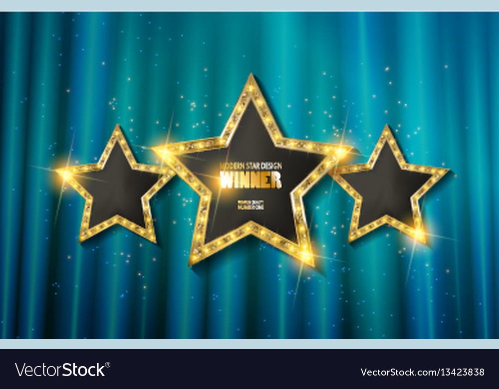 Retro light sign three gold stars