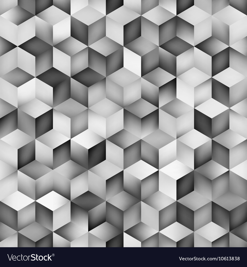 Seamless Greyscale Gradient Cube Shape Royalty Free Vector