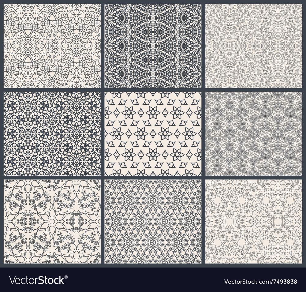 Vintage backgrounds seamless pattern set vector image