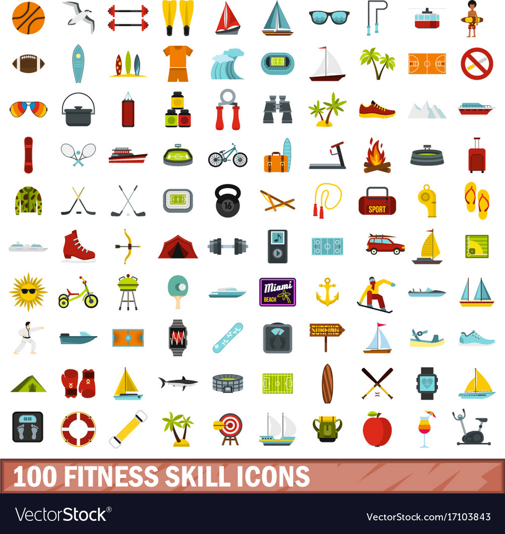 100 fitness skill icons set flat style