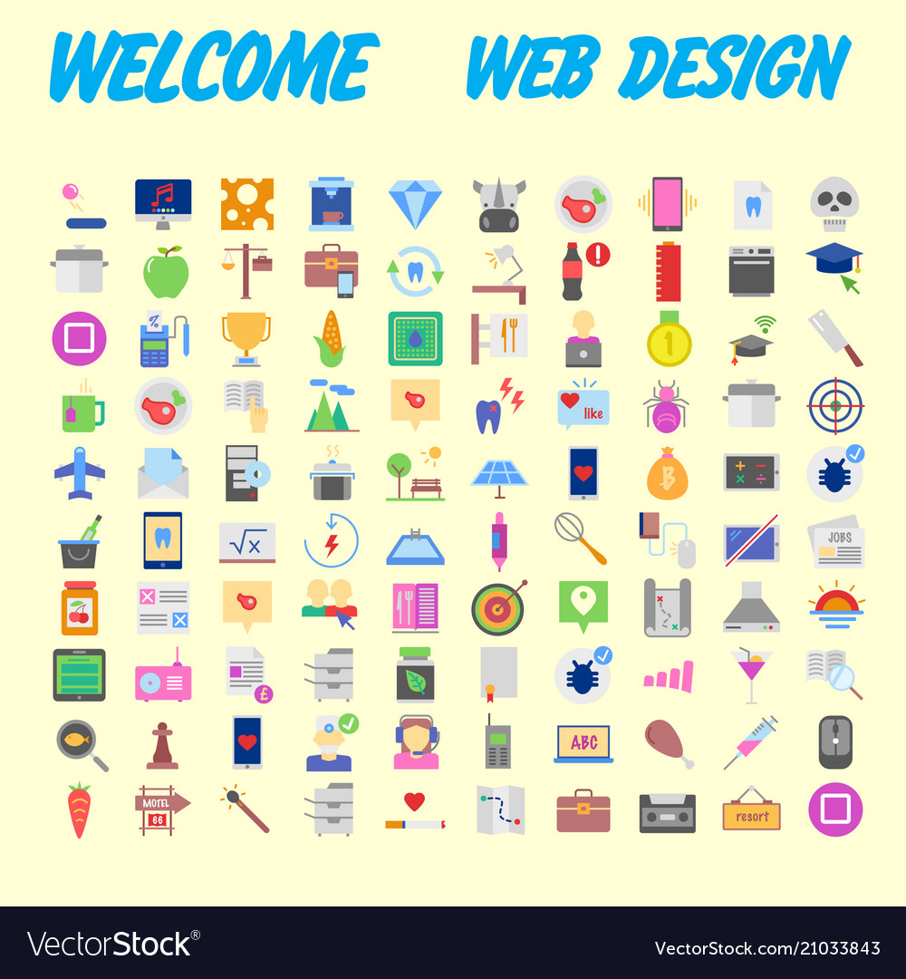 100 universal icons for web design on different