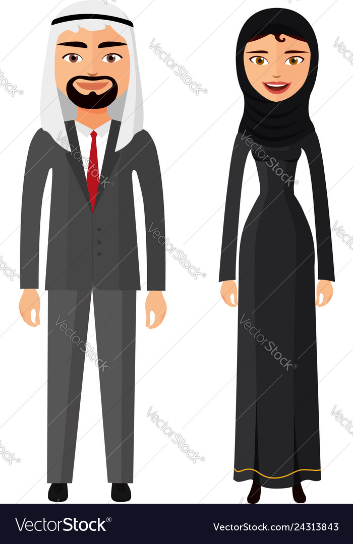Arab couple man and woman together in