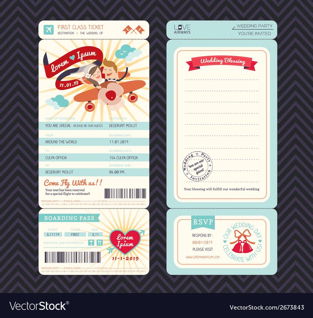 Cartoon Boarding Pass Ticket Wedding Invitation Te