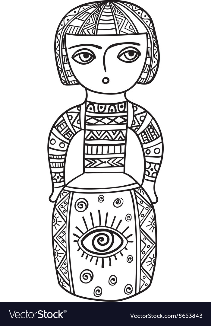 Coloring for adults Ethnic statue sculpturedoll vector image