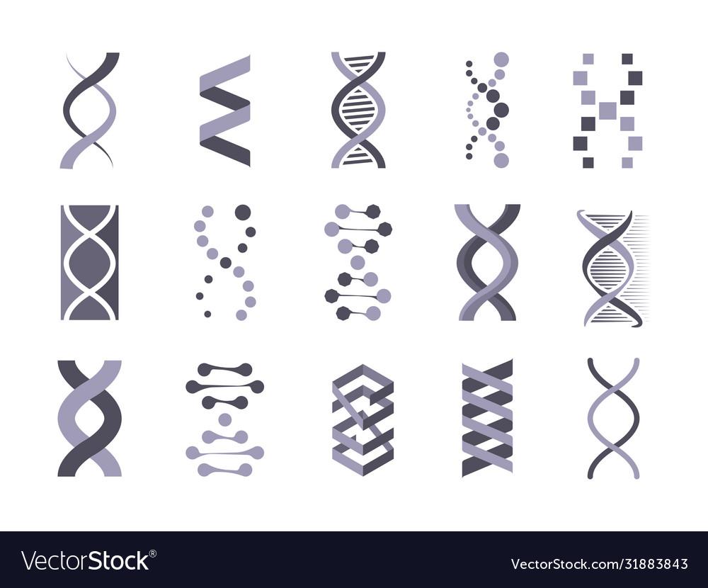 Dna helix molecule silhouette set code genetic