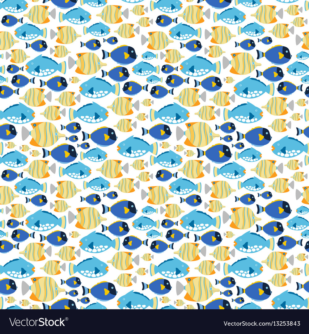 Fabric seamless pattern with sea fishes