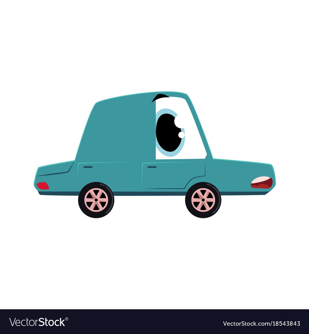 Flat cartoon sick car character