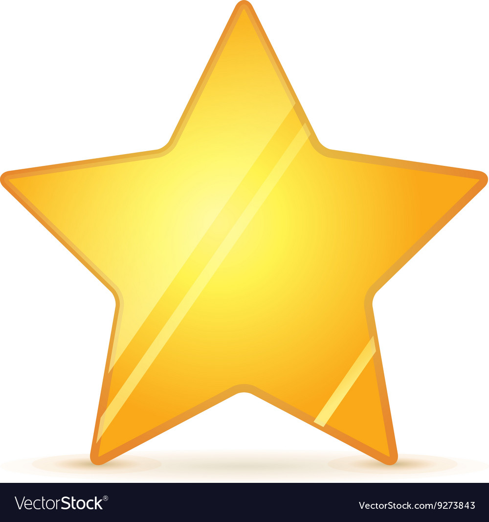 Glossy golden rating star with shadow on white