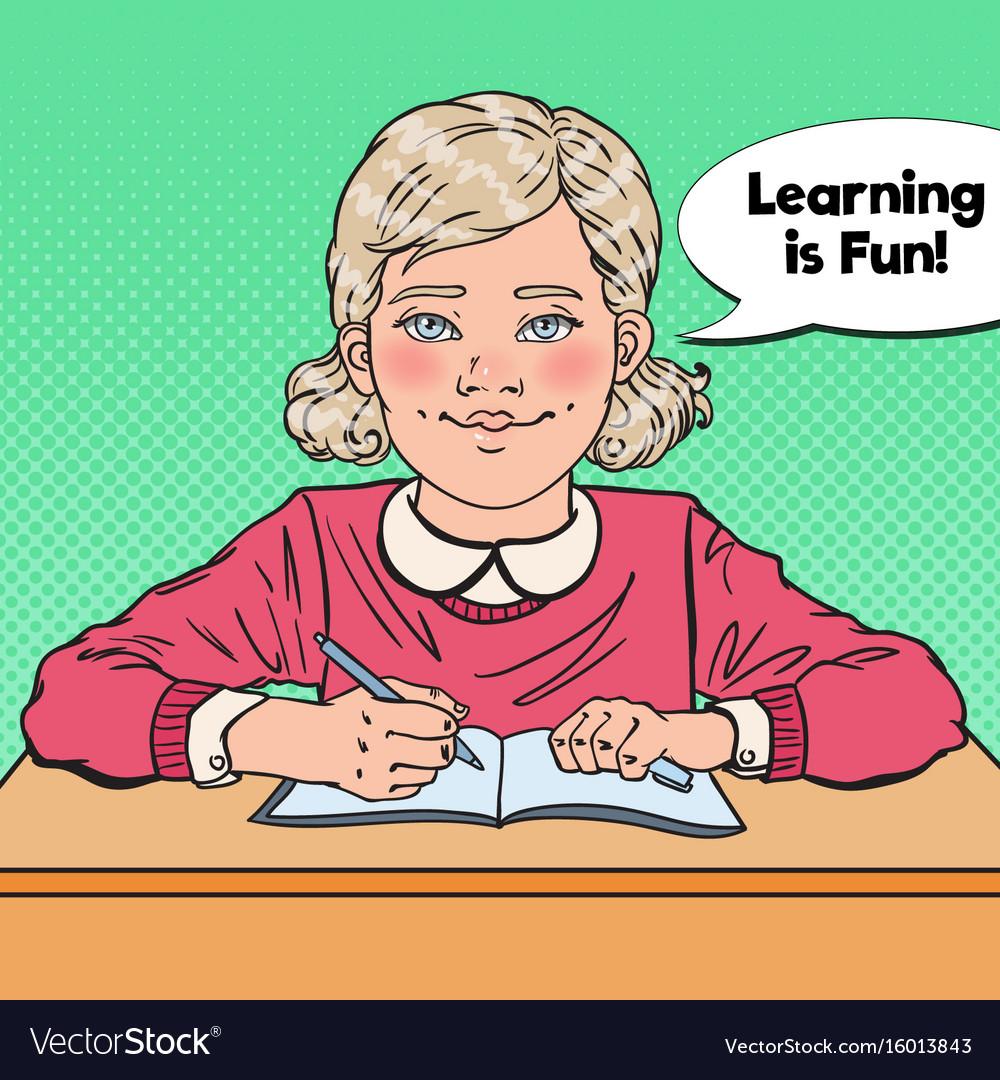 Pop art smiling schoolgirl sitting at school desk