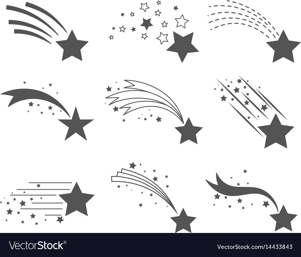Shooting stars with tails icons vector image