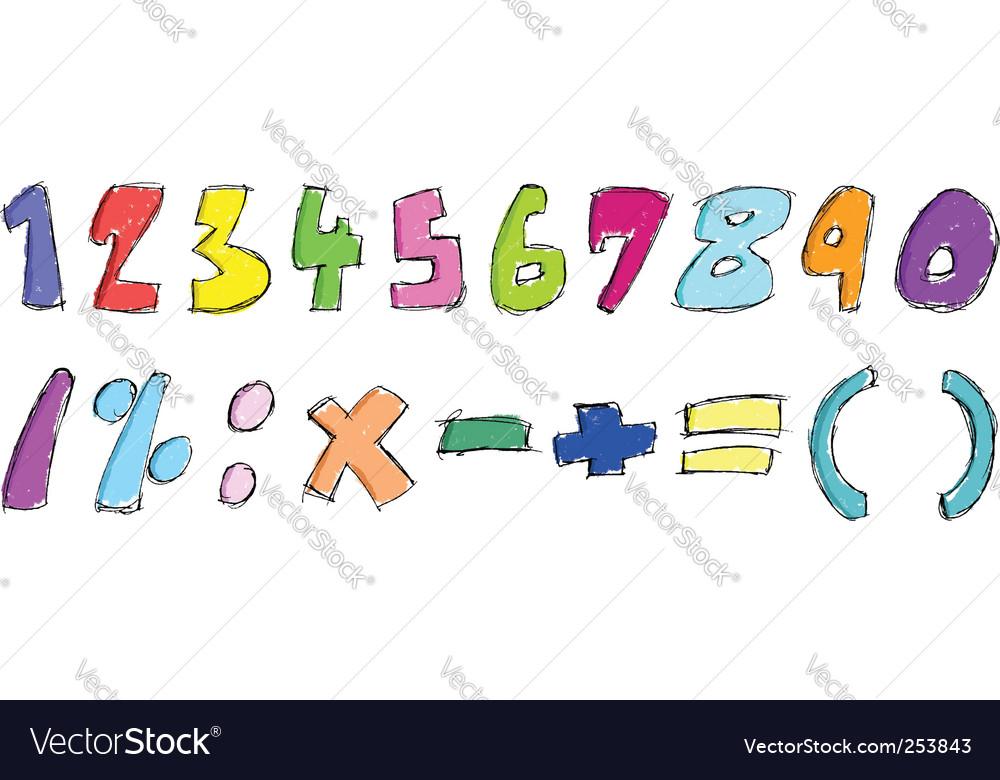 Sketchy numbers vector image