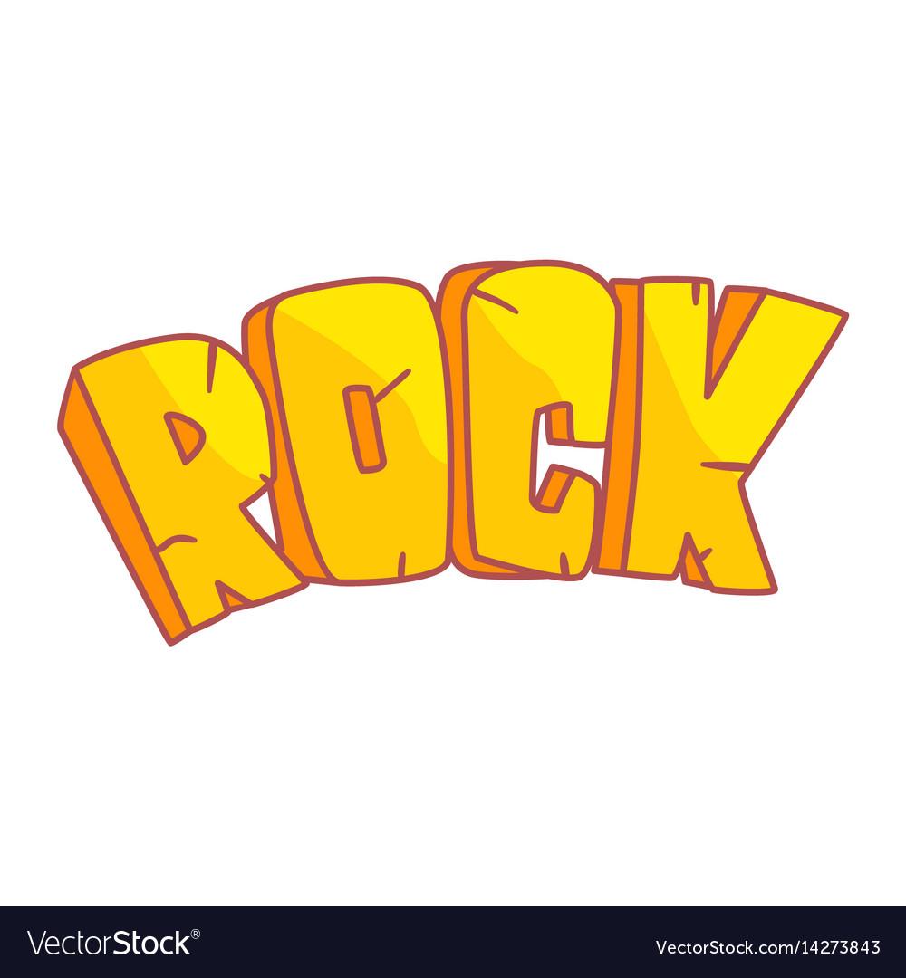 Word rock written in cartoon style colorful