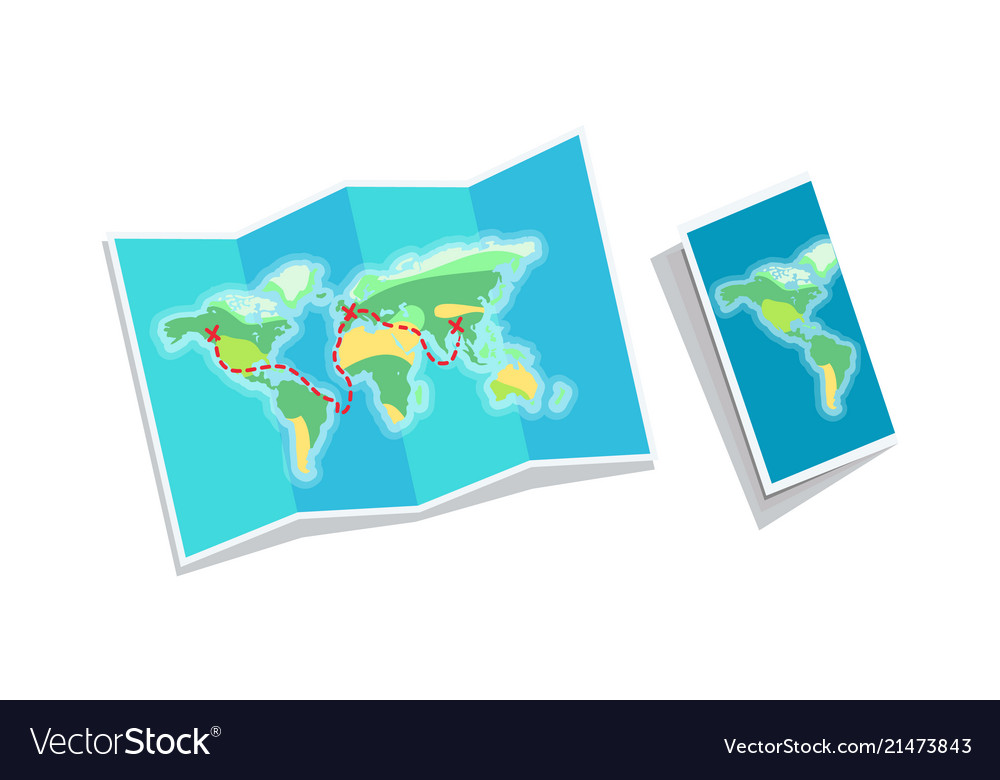 World map booklet isolated on white background