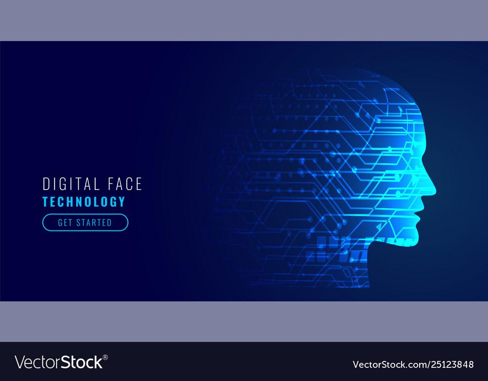 Artificial intelligence concept robotic face