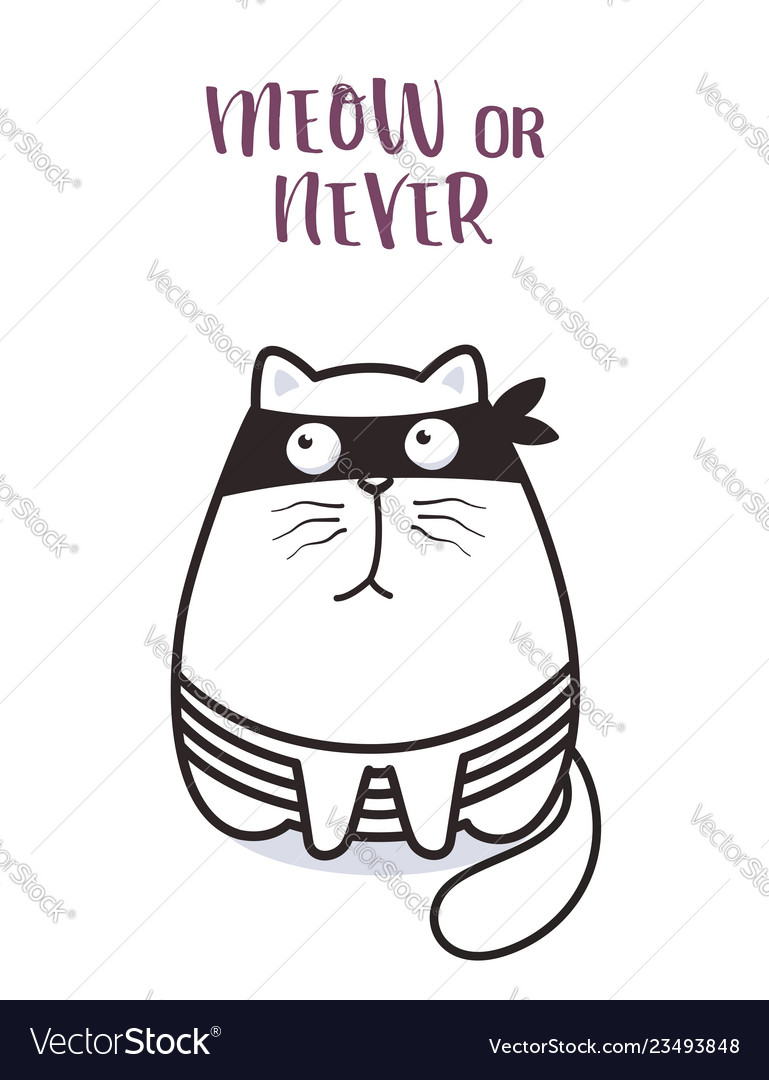 Bad cat character for greeting card design