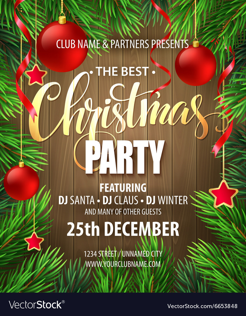 christmas party poster design template royalty free vector