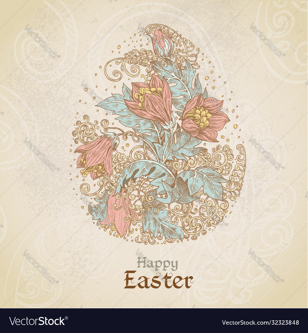 Easter vintage color background with egg from