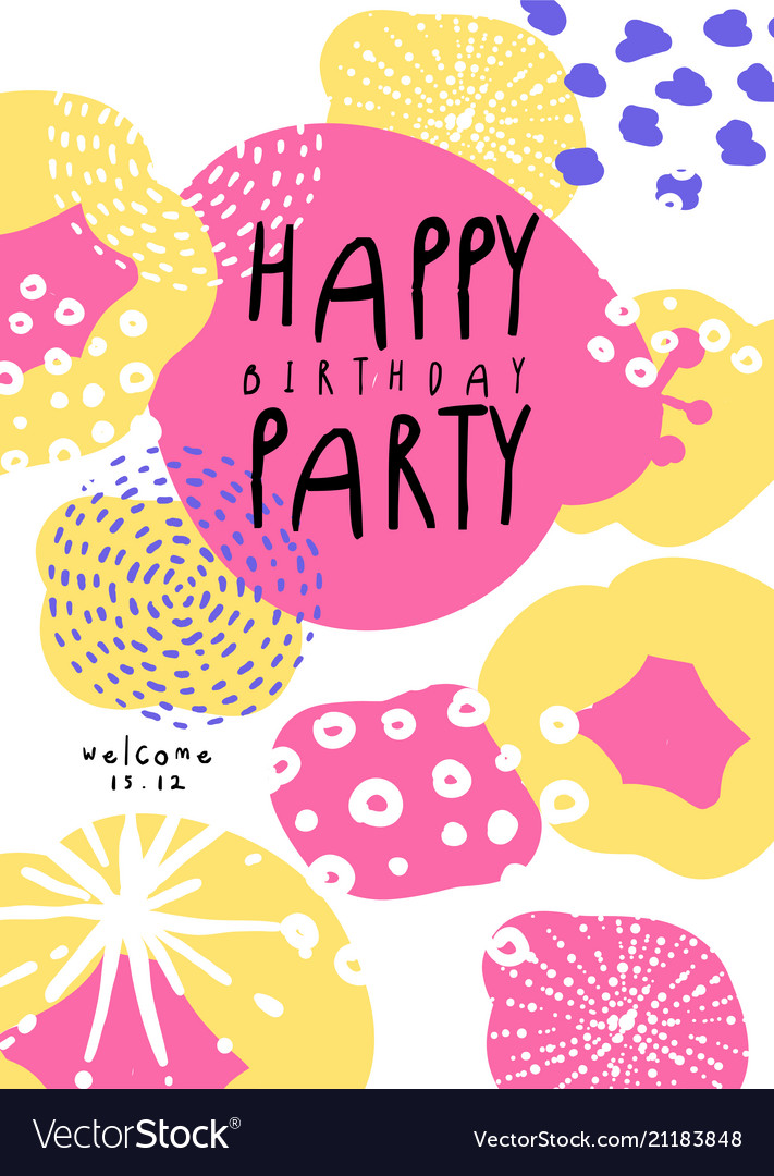 Happy birthday party poster with date template