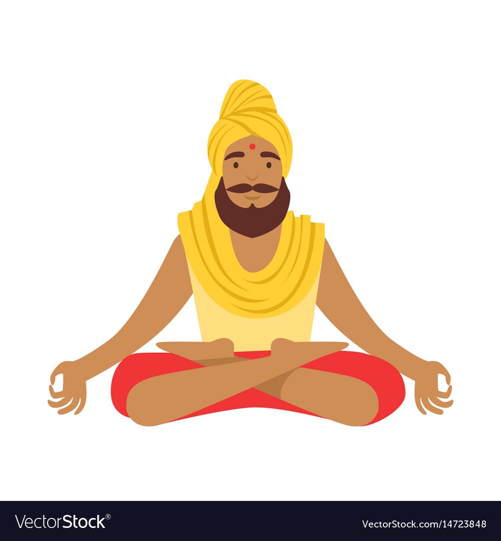 Indian Yogi In Padmasana Lotus Pose Wearing Vector Image