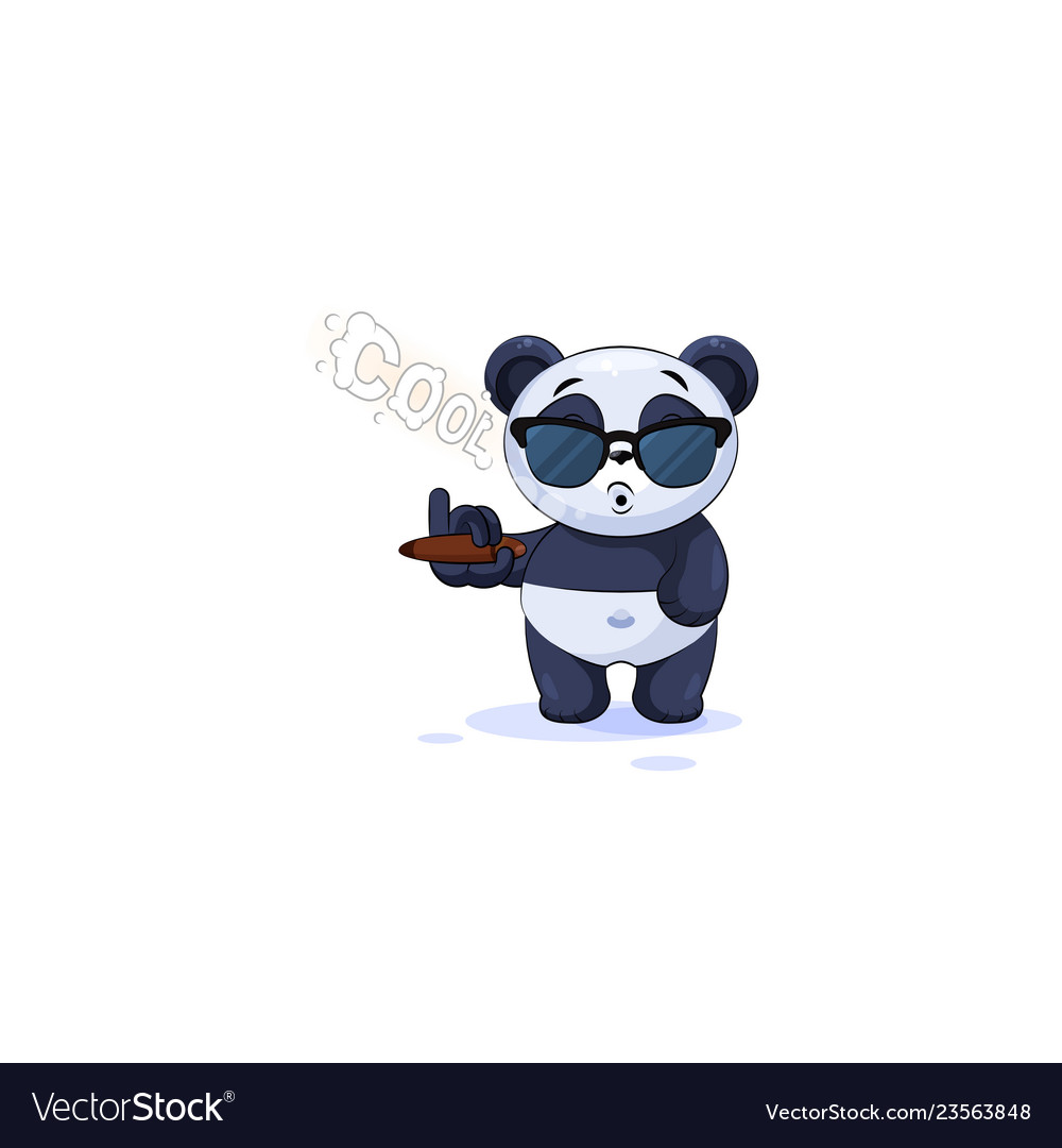 Panda sticker emoticon in sunglasses smoking cigar vector image