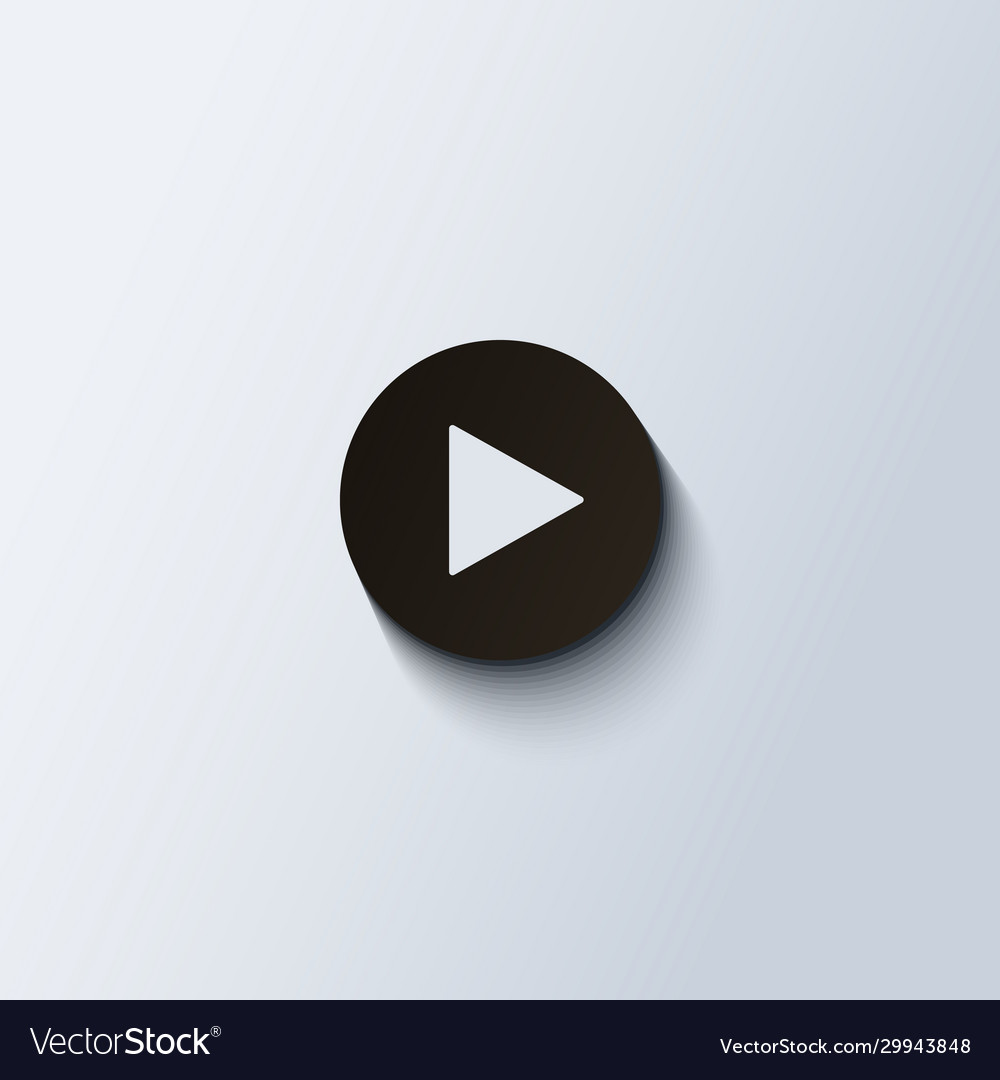 Play icon black round button for media isolated