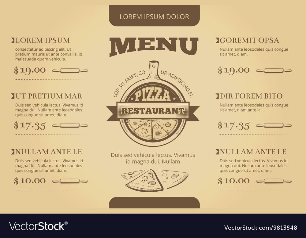 Restaurant cafe pizzeria menu template