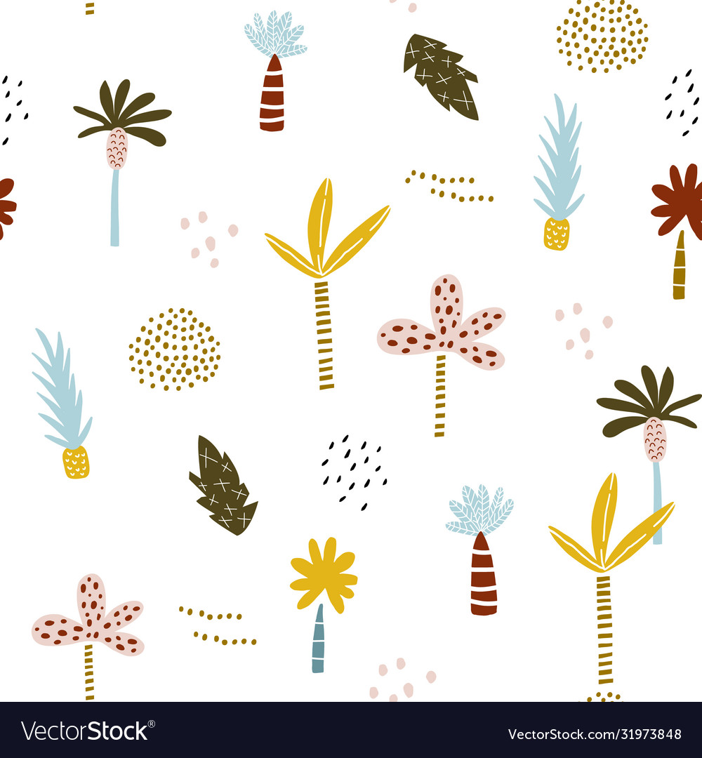 Seamless pattern with hand drawn palm trees
