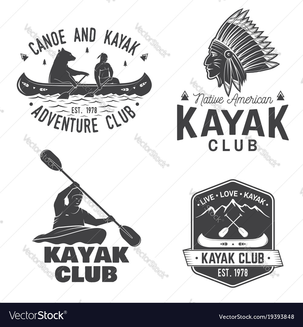 Set of canoe and kayak club badges