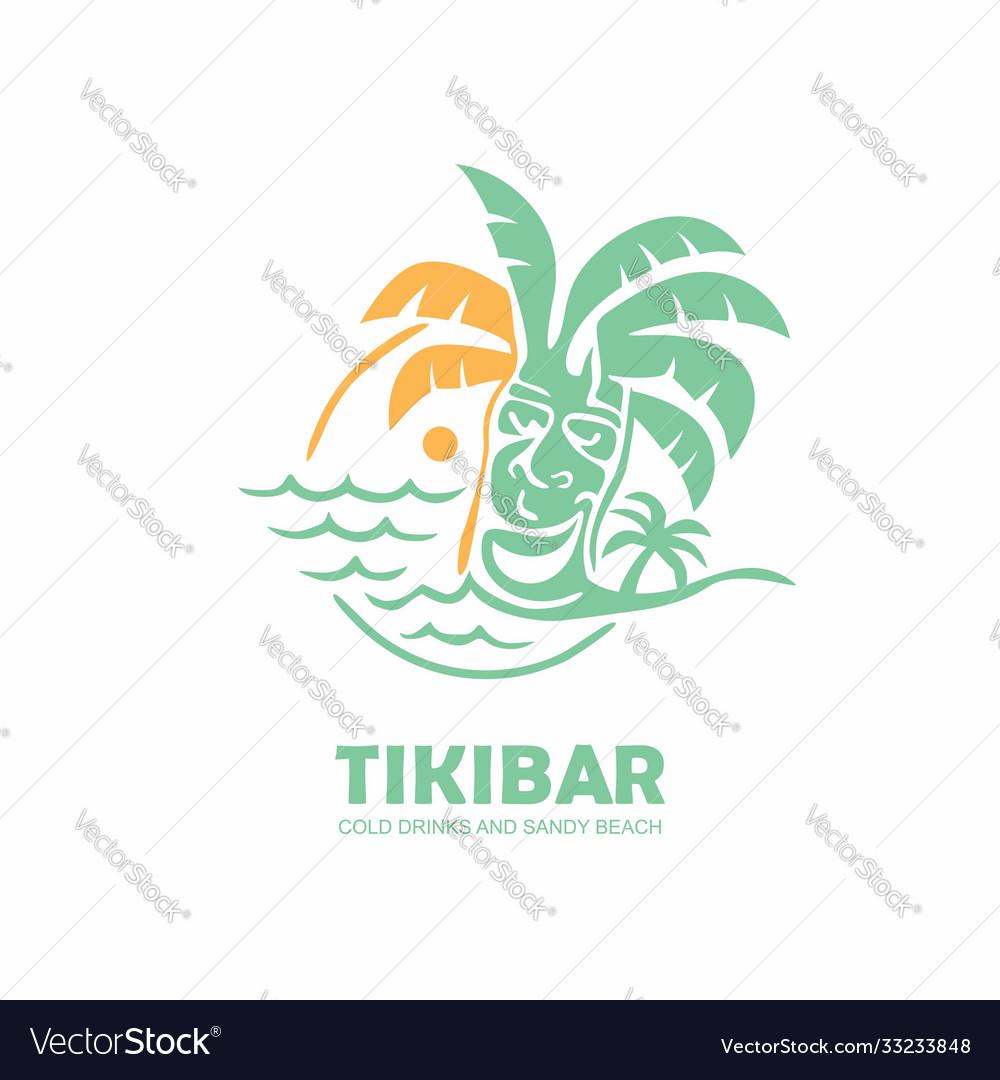 Tiki bar logo design with tiki mask on beach