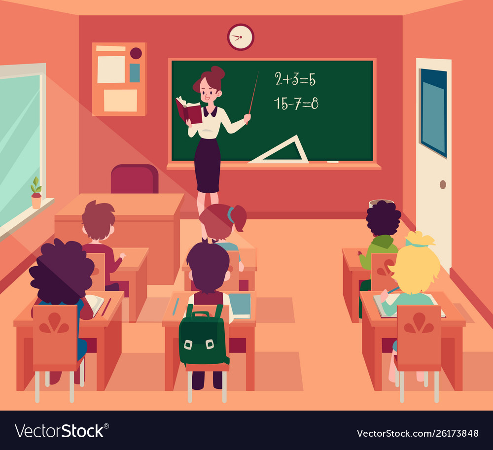 Woman stands at blackboard in classroom with