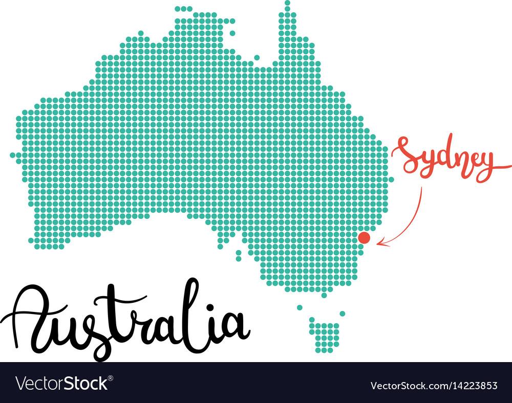 Sydney On Australia Map.Australia Map Dotted Sydney Capital Of Australia