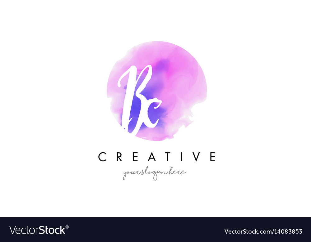 Bc watercolor letter logo design with purple