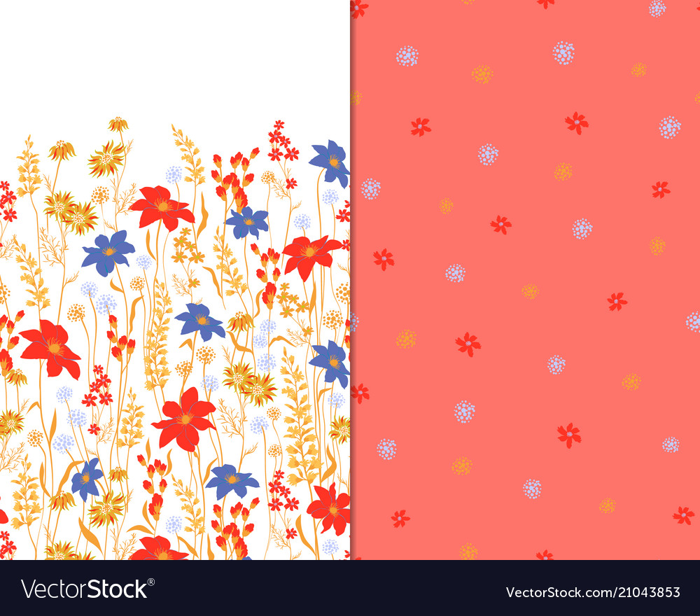 Beautiful seamless floral pattern set flower