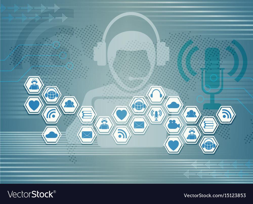 Blue Light Background C Symbols Of Internet Social