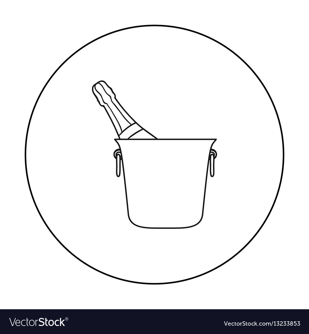 Bottle of champagne in an ice bucket icon in