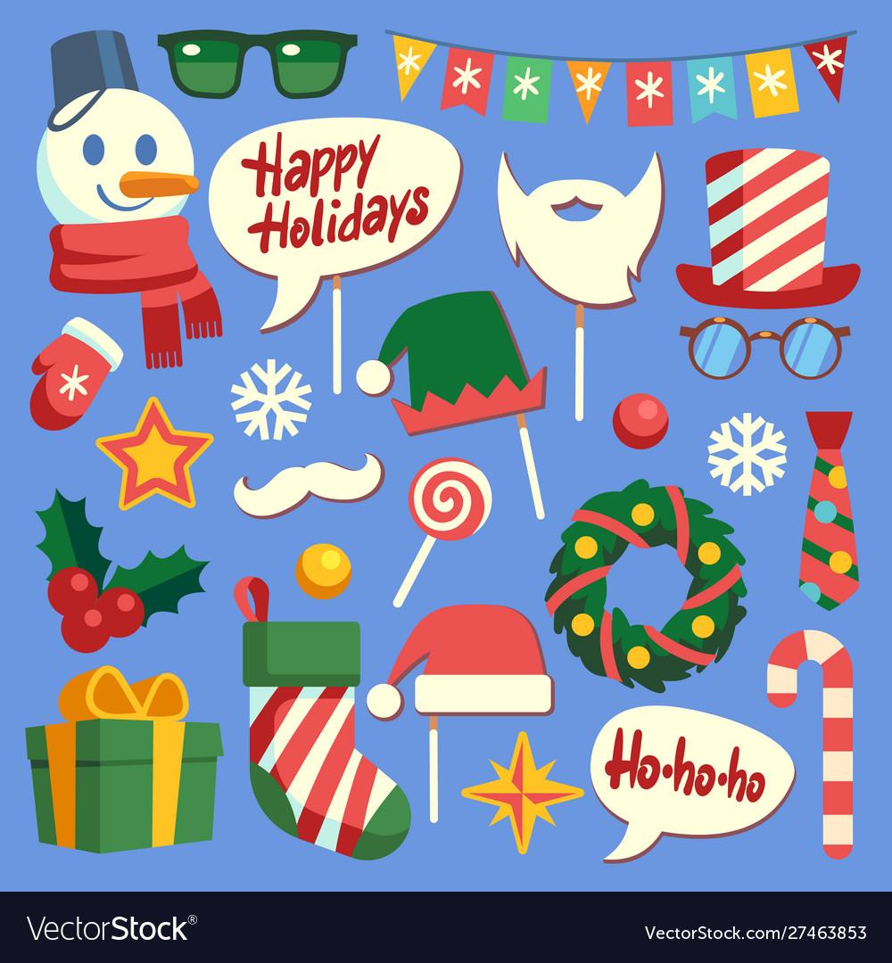 Christmas photo booth holiday props santa hat and