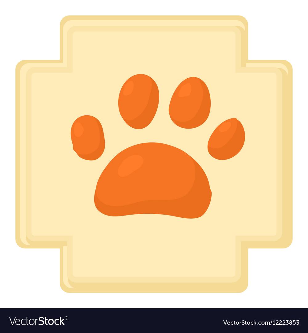 Dog paw icon cartoon style vector image
