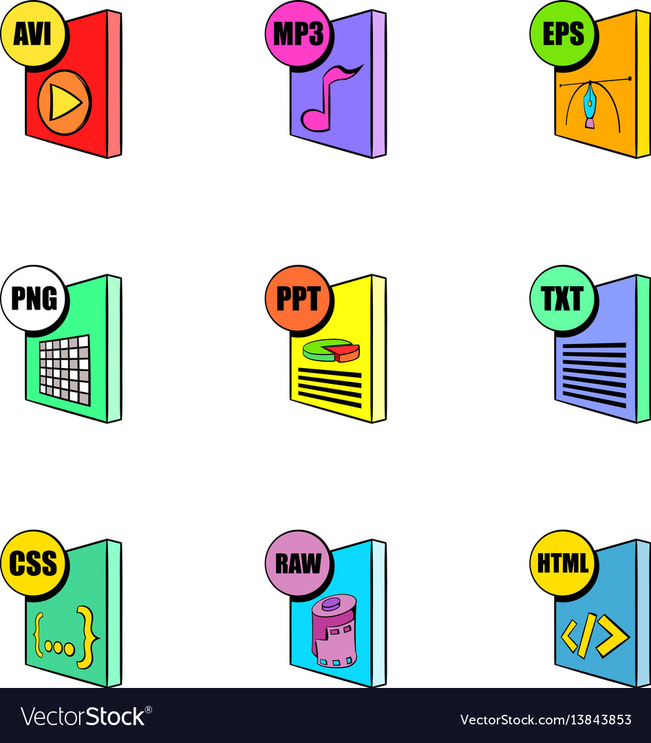 File format icons set cartoon style
