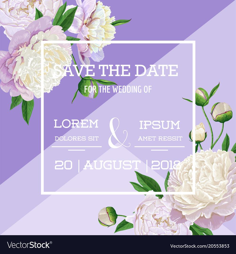 Floral wedding invitation white peony flowers vector image mightylinksfo