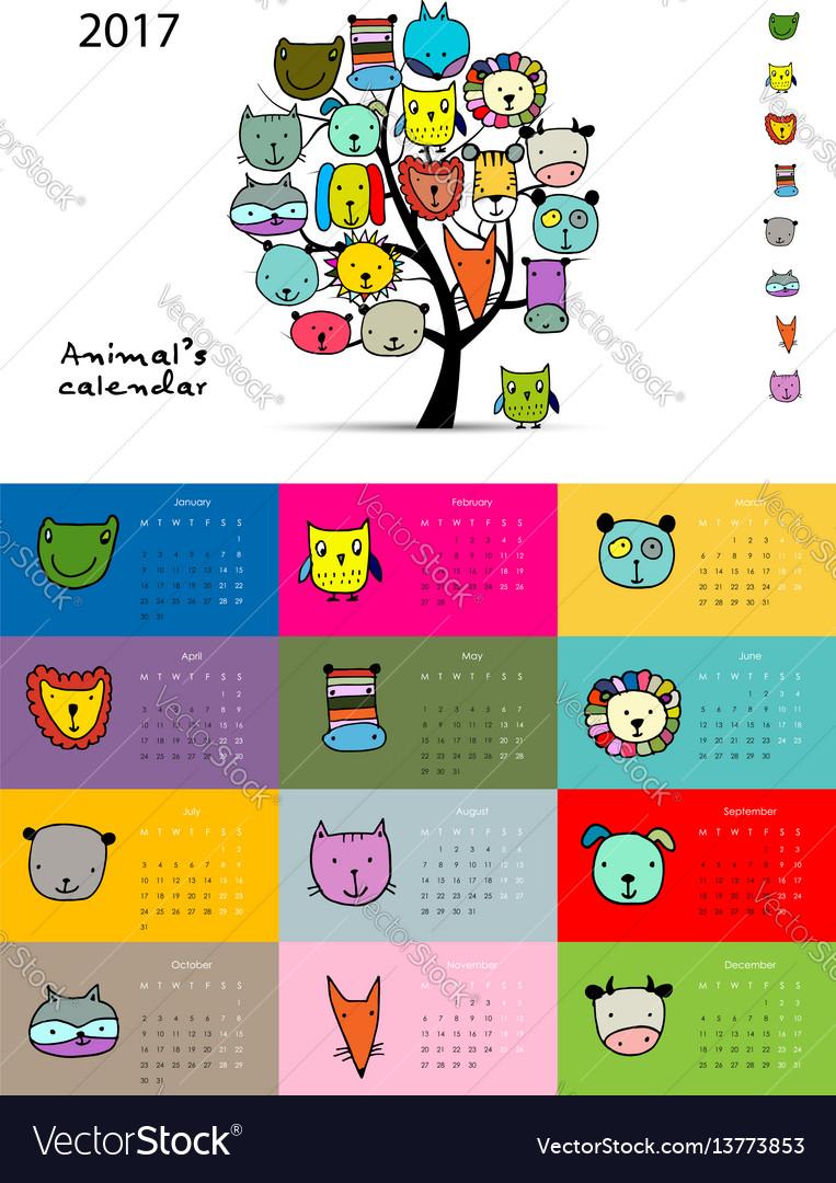 Funny animals calendar 2017 design