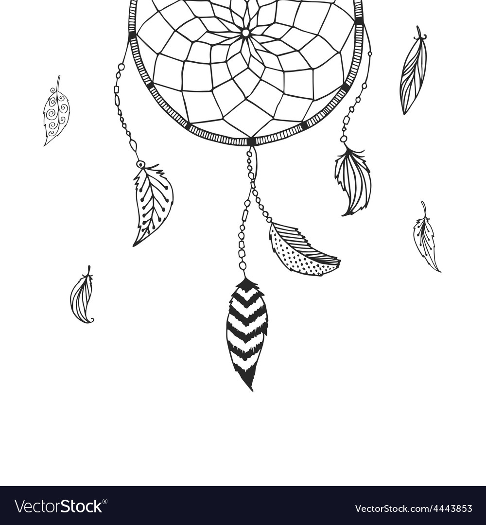 hand drawn dreamcatcher royalty free vector image rh vectorstock com dream catcher victor idaho dream catcher vector