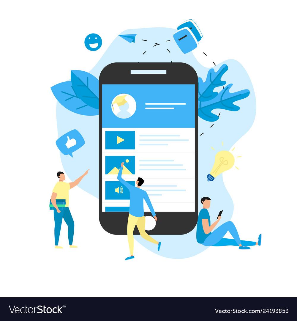 Mobile online education app e-learning concept