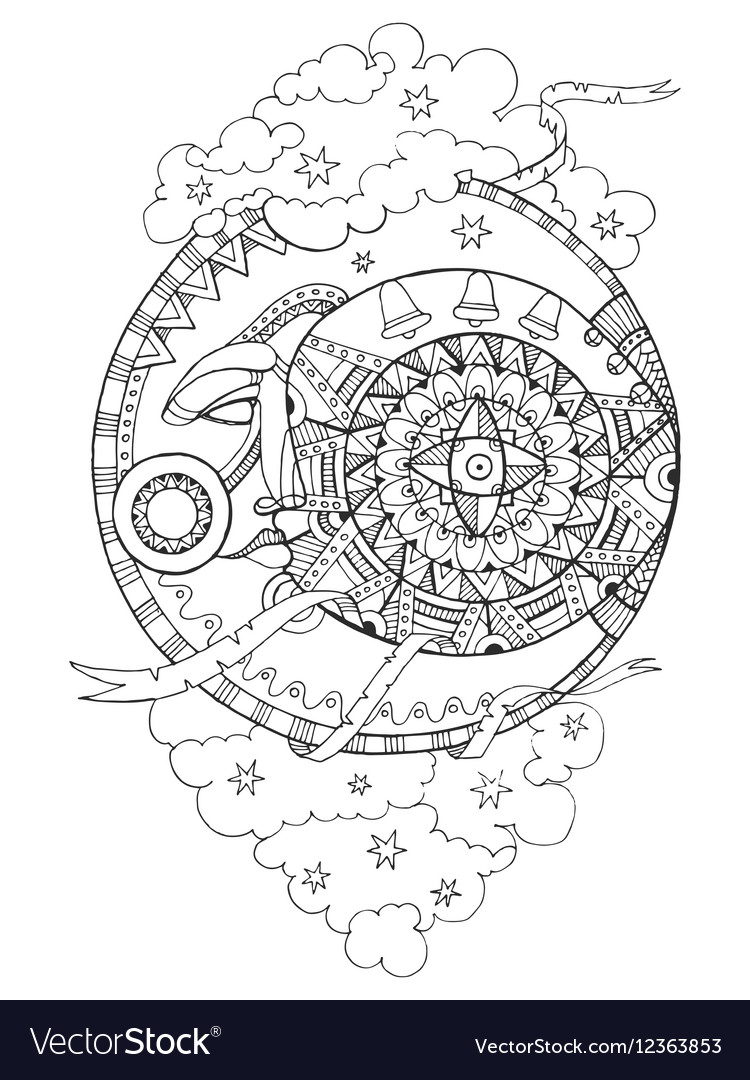Moon with face drawing coloring book for adults