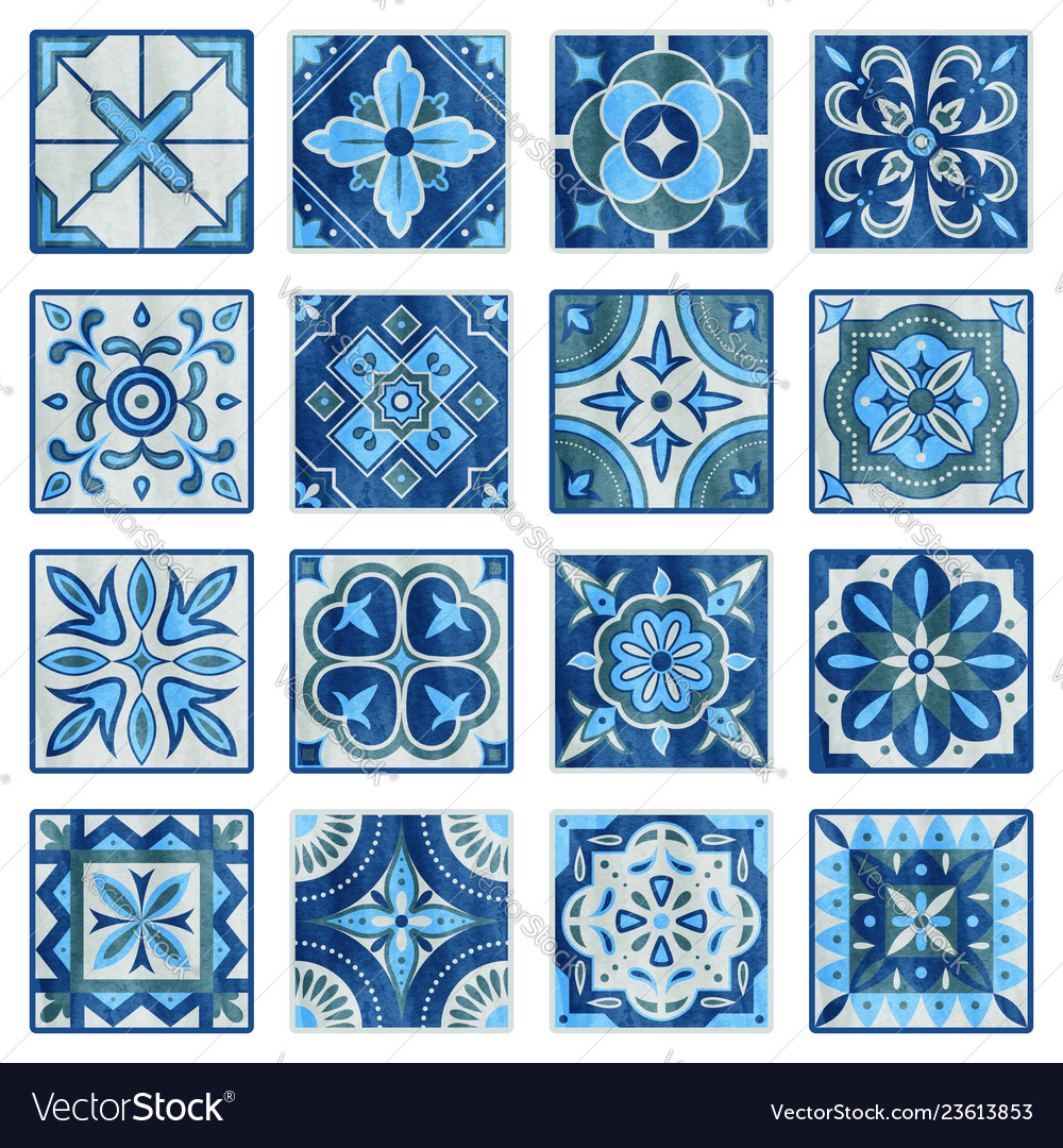 Patchwork tile in blue gray and green colors