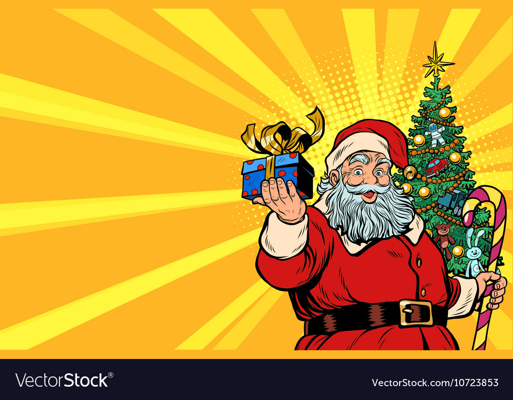 Santa Claus Christmas tree and gift copy space
